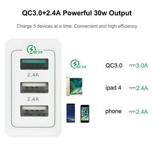 "Image 2 - AIXXCO 3 יציאות מהיר מטען QC 3.0 30W USB מטען עבור iphone 7 8 ipad סמסונג S8 Huawei Xiaomi מהיר מטען QC3.0 האיחוד האירופי/ארה""ב Plug"