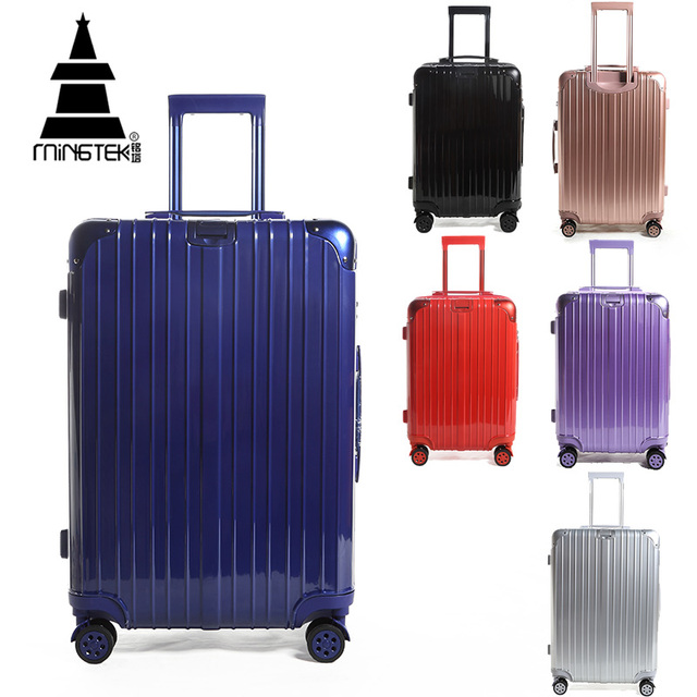 MINGTEK Brand Suitcases With Wheels Road 16 20 24Inch Traveling Bags With Wheels 2016 Autumn New Fashion Solid Business Luggage