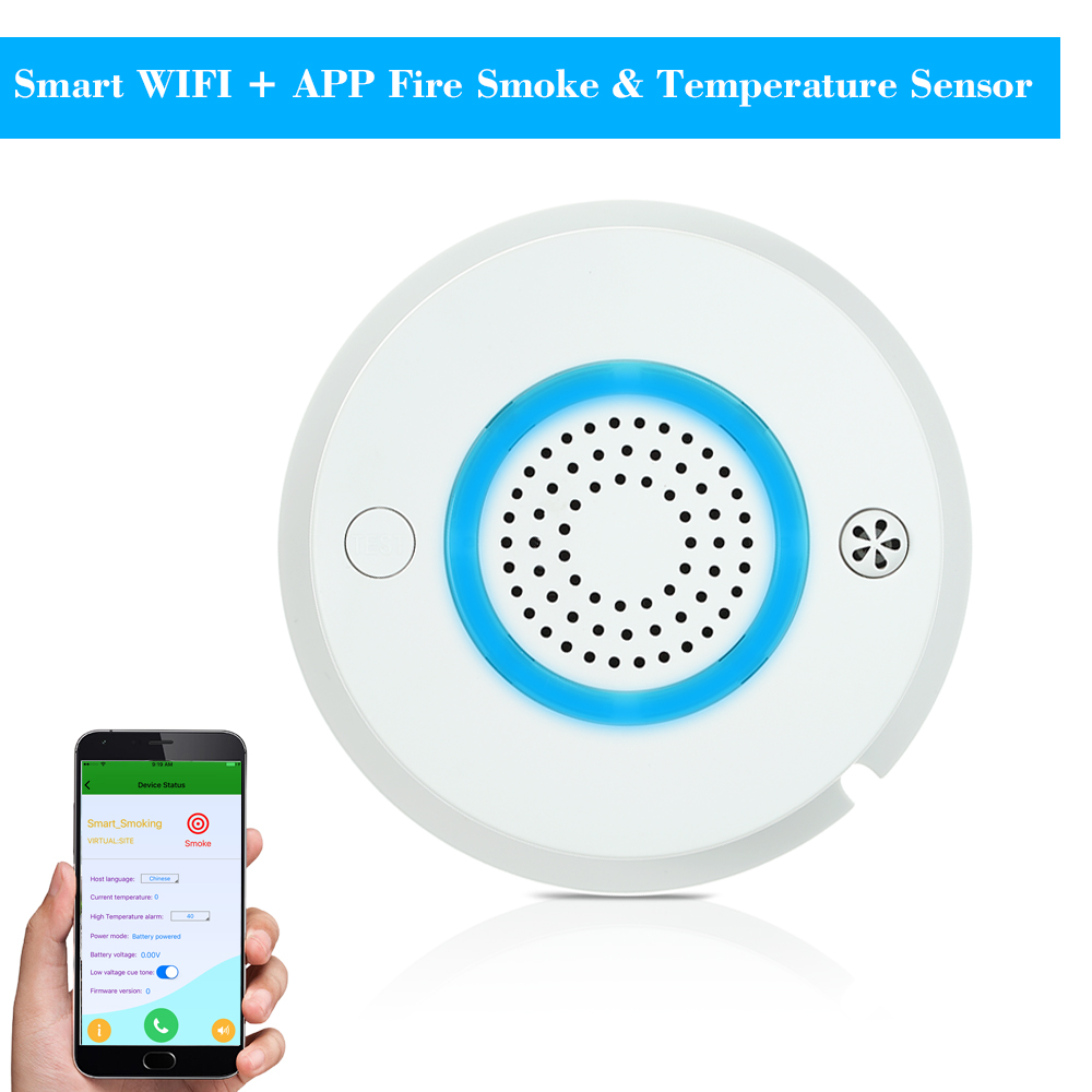 Smart WIFI + APP Fire Smoke & Temperature Sensor Wireless Smoke Temperature Detector Home Security Alarm System free shipping wireless smoke detector fire alarm sensor work with g90b plug wifi smart home alarm system
