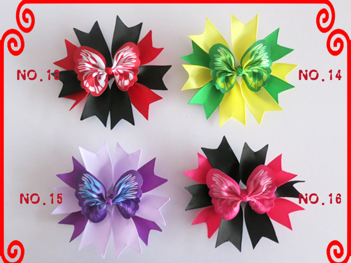 """100 Good Girl Baby 4.5/"""" Butterfly Fairy Wing Hair Bow Clip Spring Easter 208 No."""