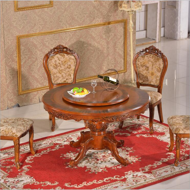 Modern Style Italian Dining Table, 100% Solid Wood Italy Style Luxury round Dining Table Set o1127