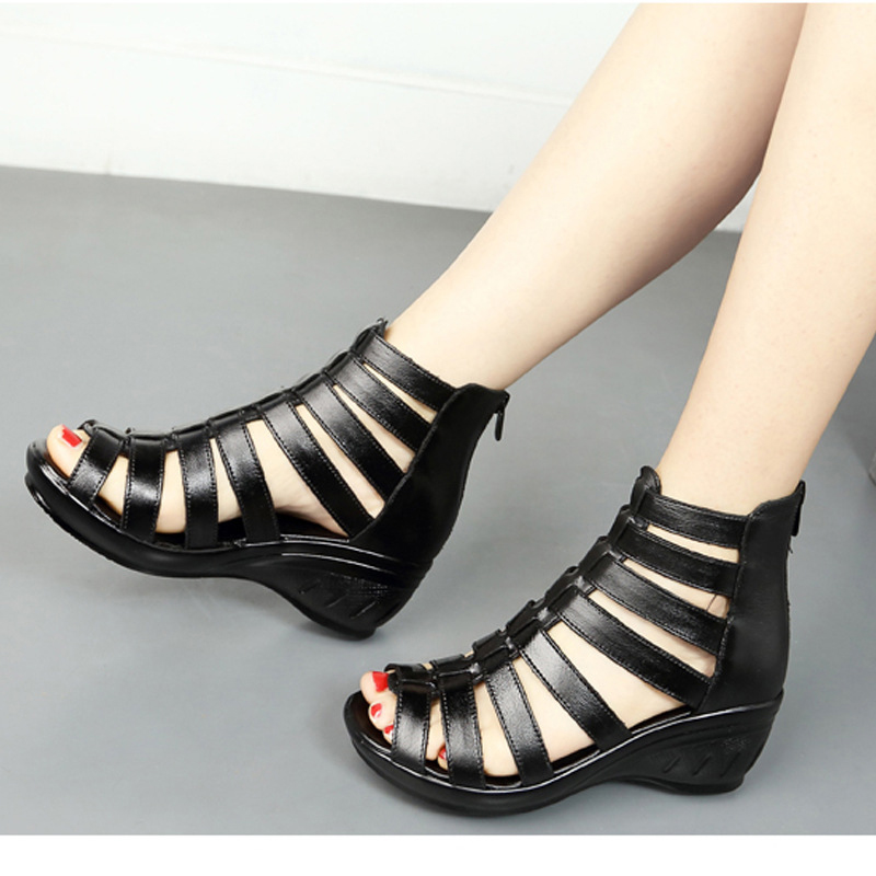 SEGGNICE Sandals Women Open Toe Heels Wedges Shoes For Women 2019 Spring New Summer Arrival Shoes Genuine Leather Fashion in High Heels from Shoes