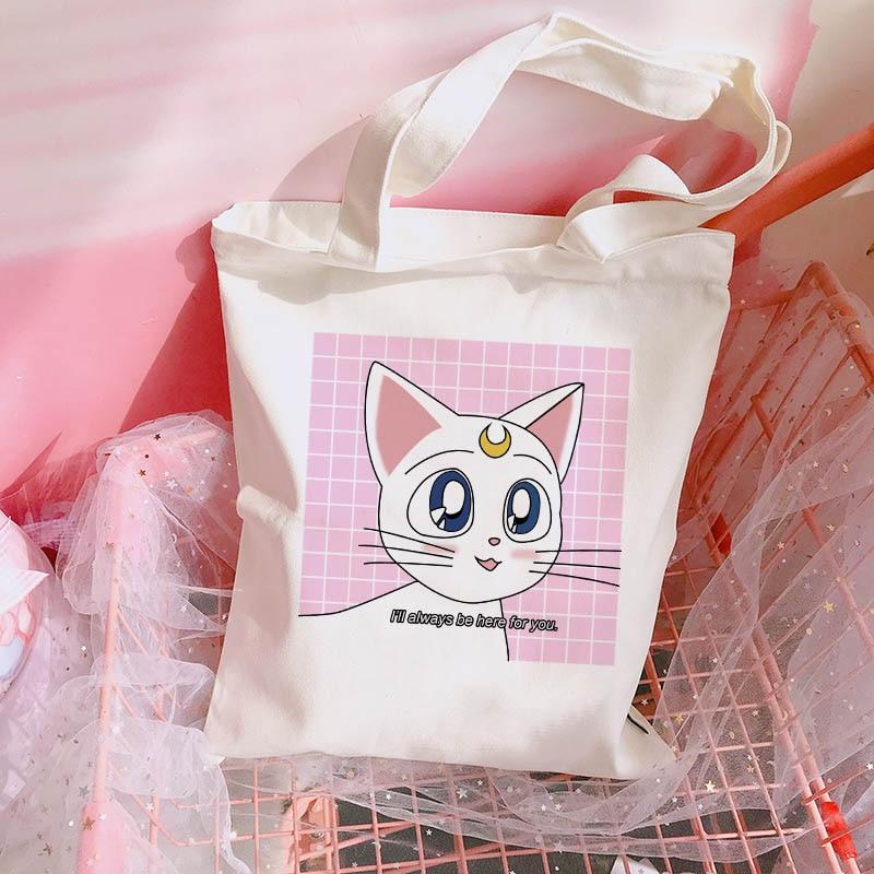 Canvas Bag Open-Pocket-Bags Sweet-Shoulder-Bag Sailor Moon Japanese College Female Cartoon-Print