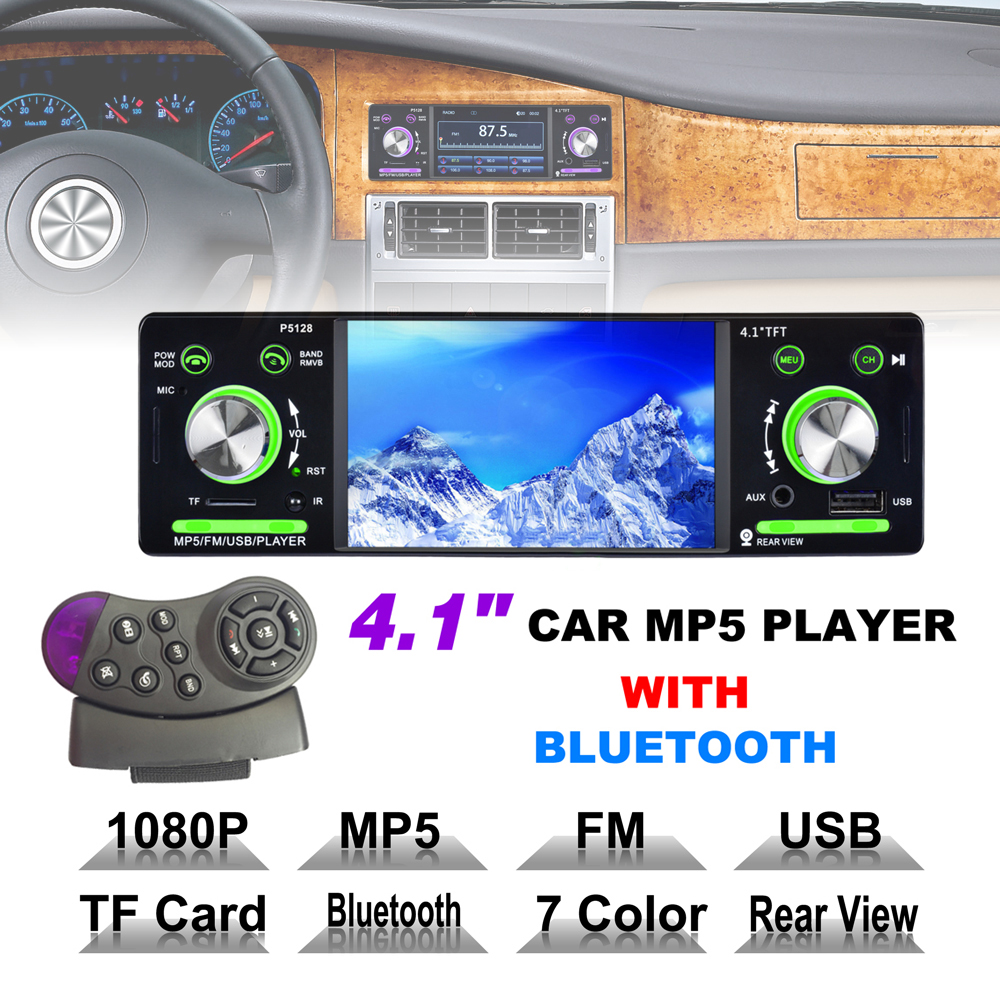 4.1 Inch 1 Din HD Bluetooth Car Stereo Radio Auto MP3 MP5 Music Player Support USB FM TF AUX + Steering Wheel Remote Control apps2car usb sd aux car mp3 music adapter car stereo radio digital music changer for volvo c70 1995 2005 [fits select oem radio]