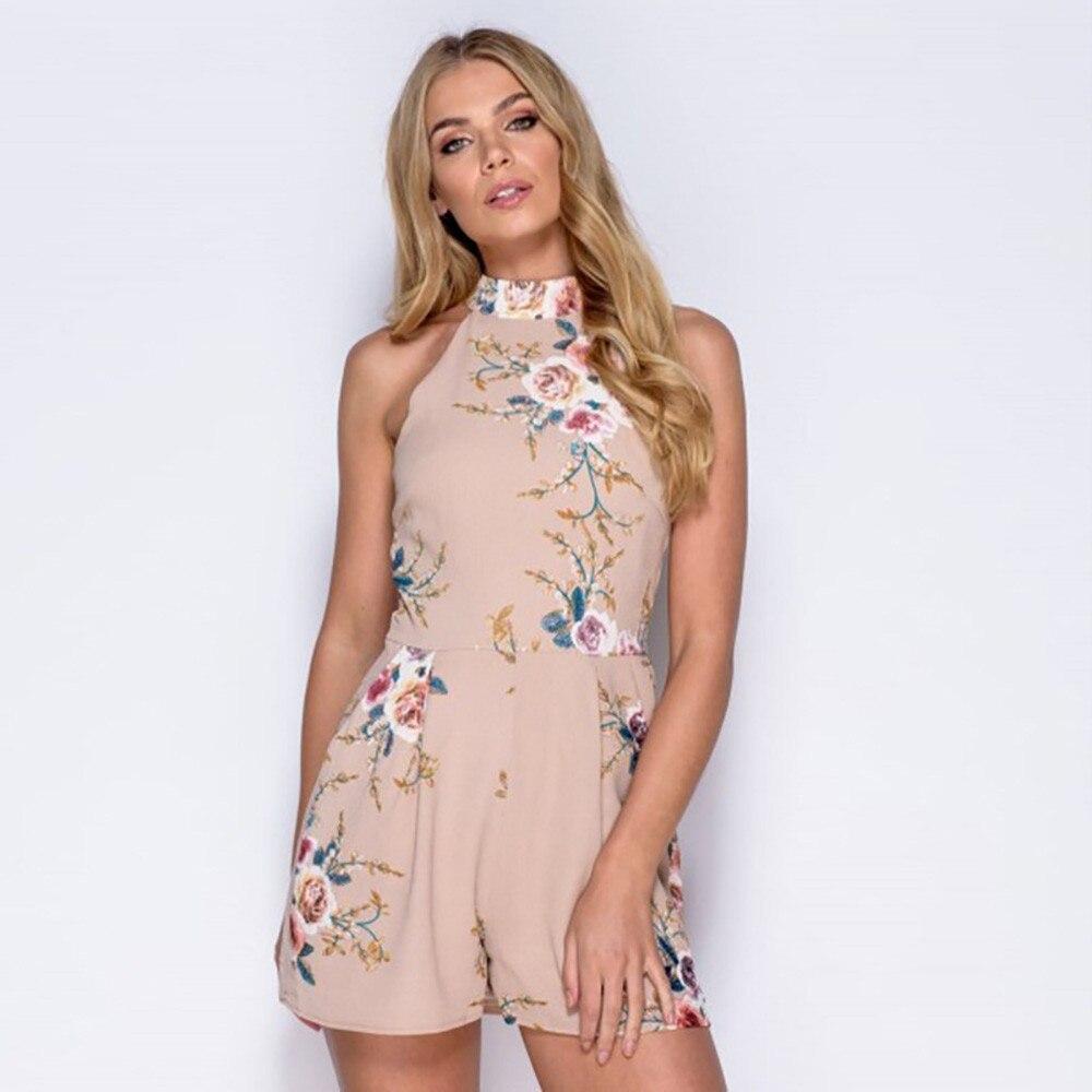 Summer Beach Rompers   Jumpsuit   Sleeveless Floral Women Halter short Wide leg Ladies Sexy Vertical Cutaway Rompers Playsuit 2018