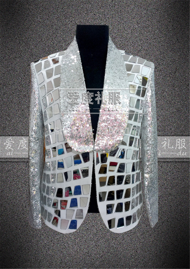 silver sequins mirror patch decoration tuxedo font b jacket b font event stage performance this is