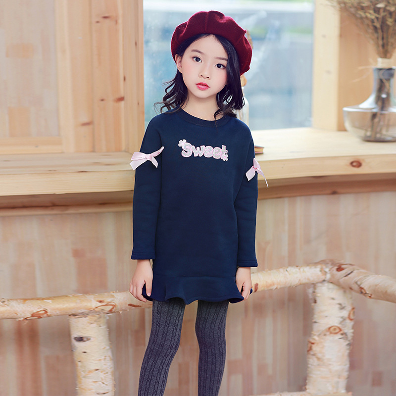 New 2017 Autumn Winter Baby Girl Dress Plus Velvet Princess Girl Dress Long Sleeve Toddler Kids Dresses for Girls newborn 2017 autumn and winter new girl cartoon plus cashmere cardigan women baby out jackets thick dress princess dress533