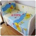 Promoción! 6 unids oso 100% algodón del lecho del bebé, cuna juego de cama cuna Bumpers bebé sábana Unpick ( bumper + hoja + almohada cubre )