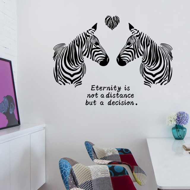 Free Shipping 1Pcs Zebra Love Vinyl Wall Stickers For Kids Rooms Living  Room TV Background Wall