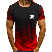 Team Number 36 Print Camouflage Short Sleeves T-Shirt Tops