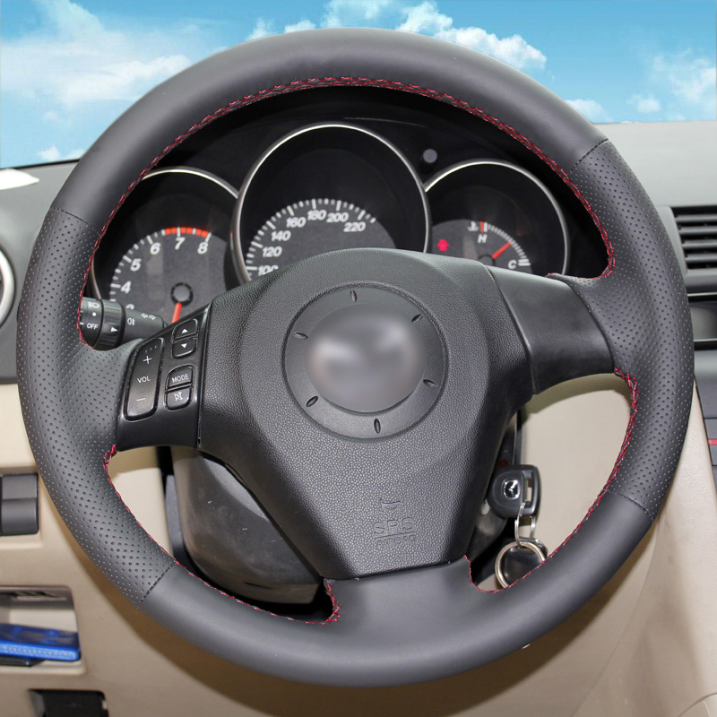 Hand stitched Black Leather Steering Wheel Cover for Old Mazda 3 Mazda 5 Mazda 6 Pentium