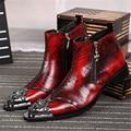Hombres guapos de Metal Rojo Botines Punta estrecha de Cuero Genuino Botas Hombre Botas Militares de Vaquero Vestido de Fiesta Zapatos Creepers