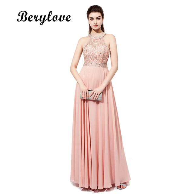 BeryLove Hot Selling Halter Beading Long Prom Dresses Real Photos Backless  Long Evening Dresses 2018 Cheap 054d9f85b7ce