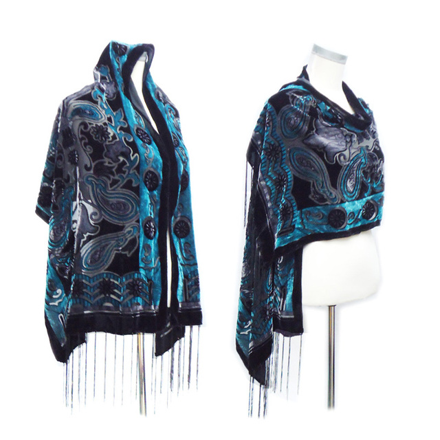 1399d15705e4 High Quality Green Cashew Silk Scarf Shawl Women Luxury brand Velvet  Scarves Winter Soft Pashmina Fashion Long Wrap Dress