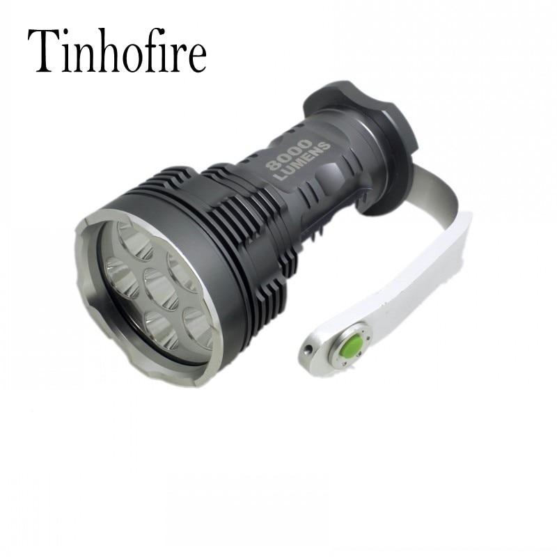 Tinhofire 8000 Lumens CREE XM-L 6x T6 LED Flashlight Torch Portable light Lamp XY-600 6T6 tinhofire 6870 cree xm l 2 2000 lumens l2 led flashlight torch light lamp micro usb input 5v charger with battery