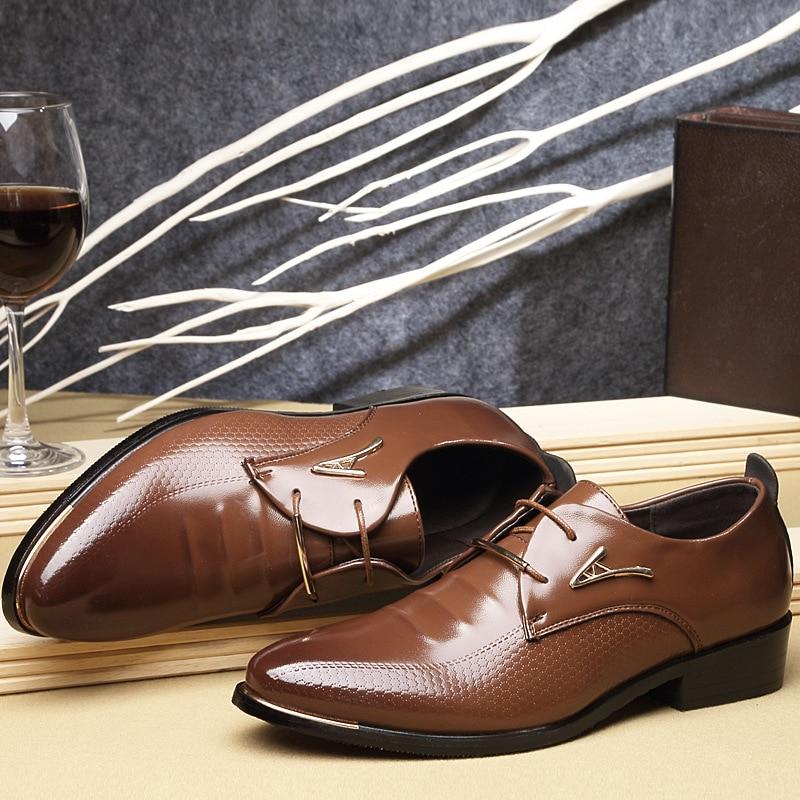 Men Black Chaussures Grande Gee Robe Nouvelle Qualité Arrivée up Appartements Taille Pour Shoes Haute Dentelle Hommes Marque brown De Shoes Mariage Cuir En wgqHxYUx