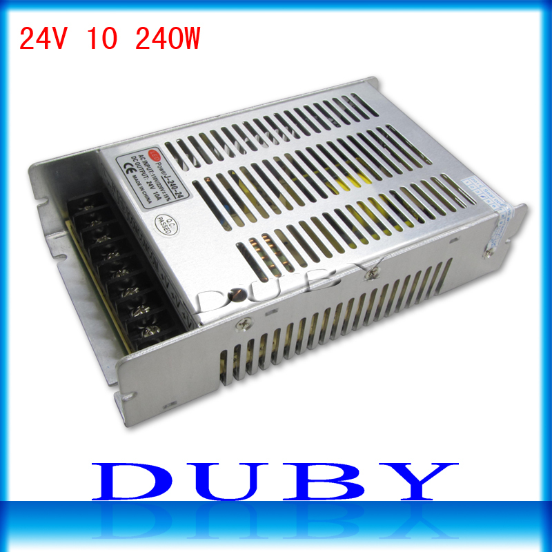100Pcs/lot New Arrival 24V 10A 240W Switching power supply Driver For LED Light Strip Display AC100-240V Free Fedex ac 85v 265v to 20 38v 600ma power supply driver adapter for led light lamp