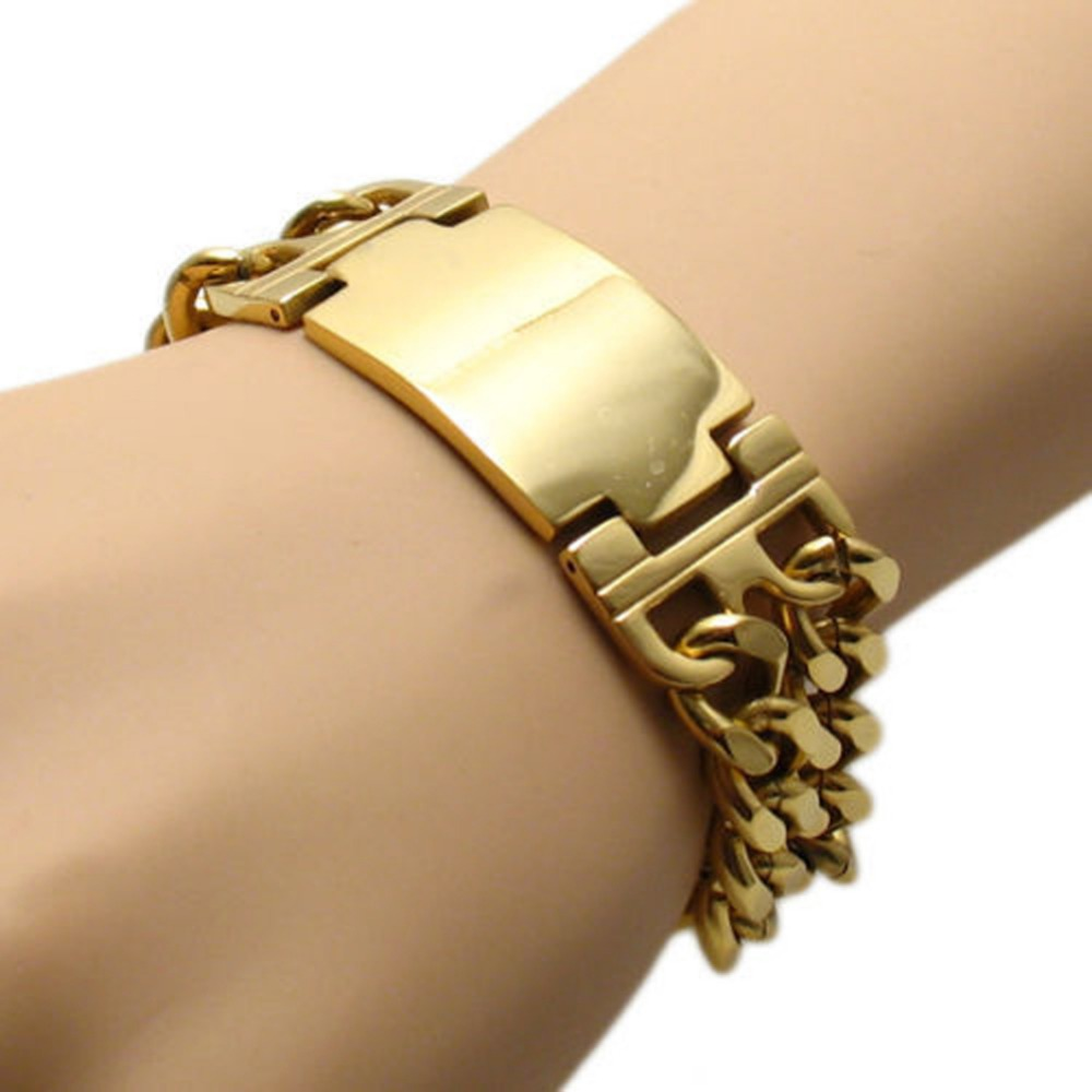 New Jewelry Bangle 22cm*22.5mm 84g 316L Stainless Steel Gold color Bend Tag Chain Bracelet Cuff For Strong Cow Boy & Men