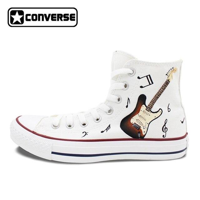 Men Women Converse Chuck Taylor Guitar Musical Note Original Design Hand  Painted Shoes High Top Woman