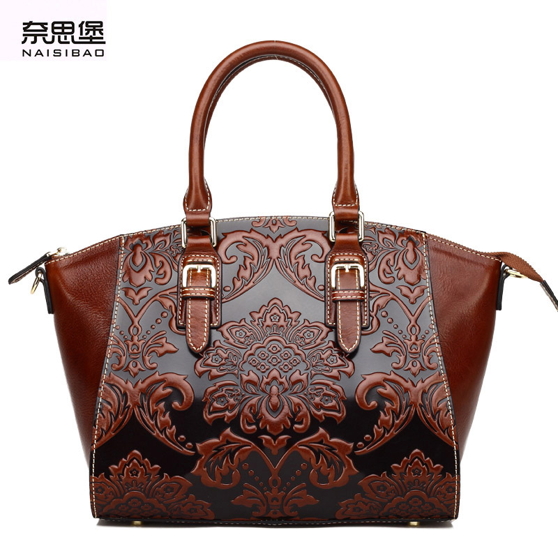 купить NAISIBAO 2018 luxury women messenger bags 100% genuine leather handbag vintage tote shoulder bag designer handbags crossbody по цене 7140.79 рублей