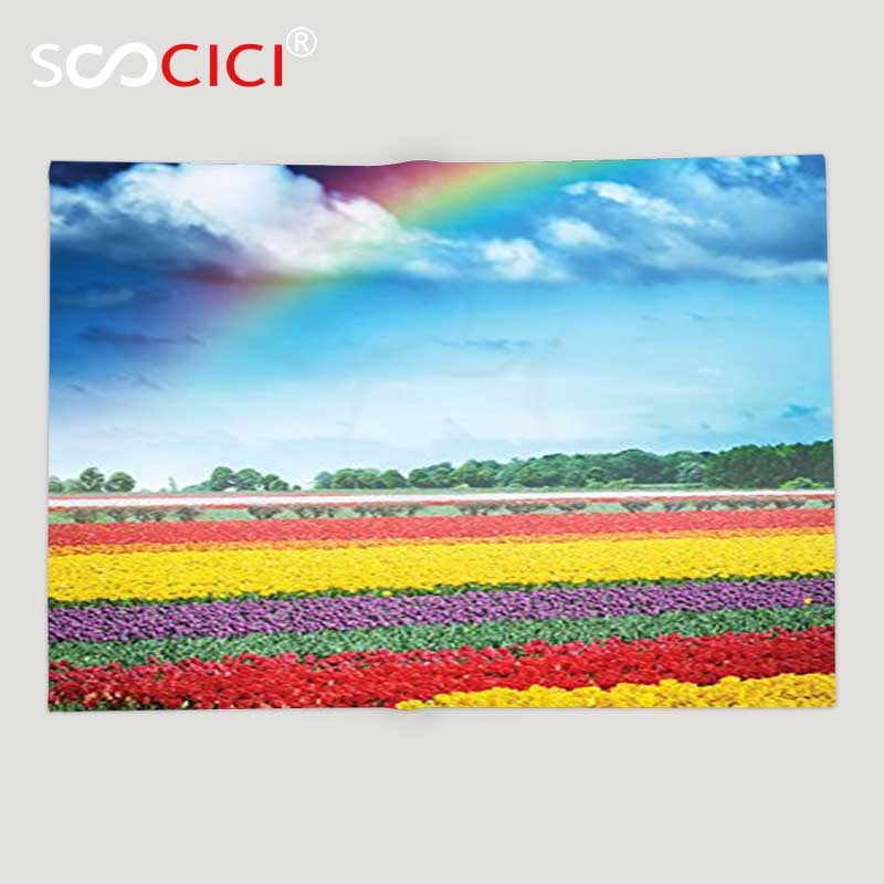 Custom Soft Fleece Throw Blanket Country Collection Rainbow over Multicolor Tulip Field Blooms Distant Forest at Spring Time