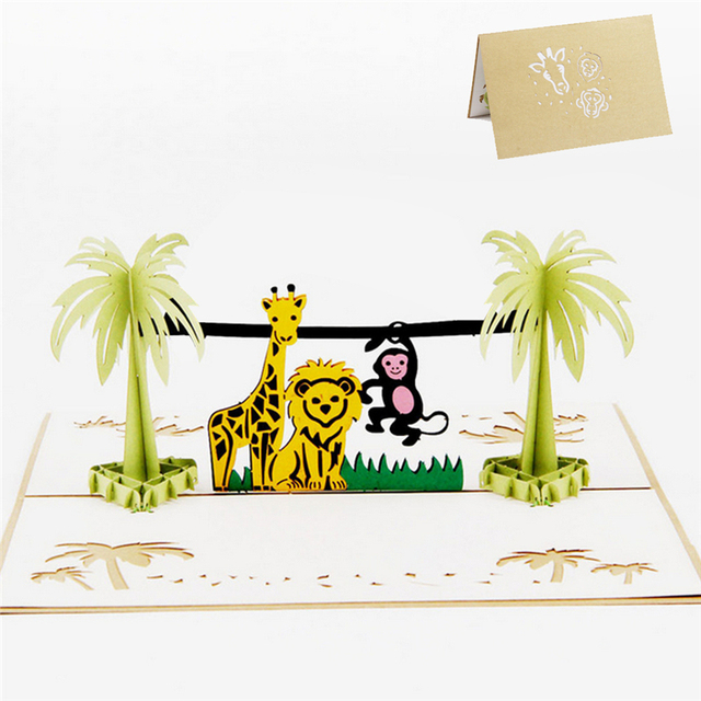 3d Pop Up Happy Children S Day Animal Zoo Greeting Card Christmas