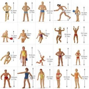 Image 3 - 40 sztuk różnych pozach 1: 87 pływanie figurki HO skala pływanie ludzi sceneria plażowa układ miniaturowy P8720