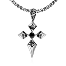 New Hot Men Party Fashion Accessories Dart Pendant Gothic Cross Black Round Necklace Male Bijoux Stainless Steel Creative Gift
