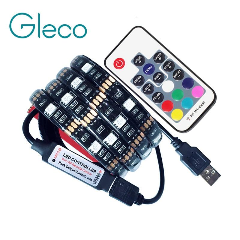 DC5V USB светодиодный полосы 5050 RGB Гибкие Light 1 м 2 м ТВ фонового освещения RGB светодиодный полосы клейкой ленты IP20/IP65 водонепроницаемый