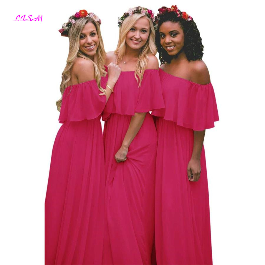 Off Shoulder Chiffon Bridesmaid Dresses A Line Ruffle Floor Length Prom Party Gowns 2019 Long Dress for Wedding Party for Woman in Bridesmaid Dresses from Weddings Events