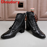 Choudory botas hombre black military boots chelsea men shoes high heels python skin genuine leather cowboy boots mens
