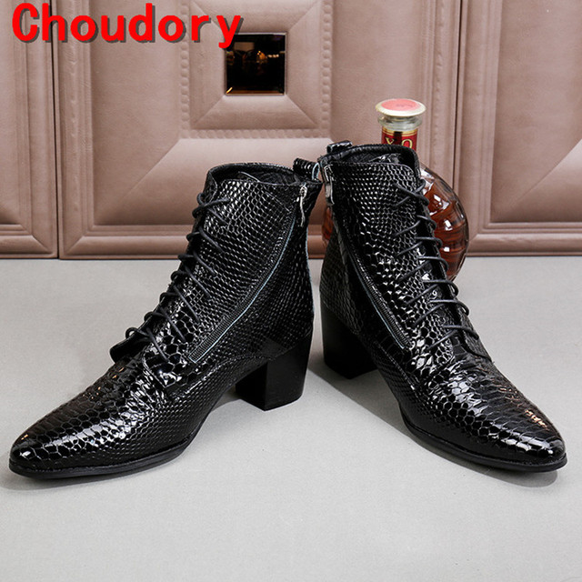 Choudory botas hombre siyah askeri botlar chelsea erkekler yüksek topuklu ayakkabı python cilt hakiki deri kovboy çizmeleri mens