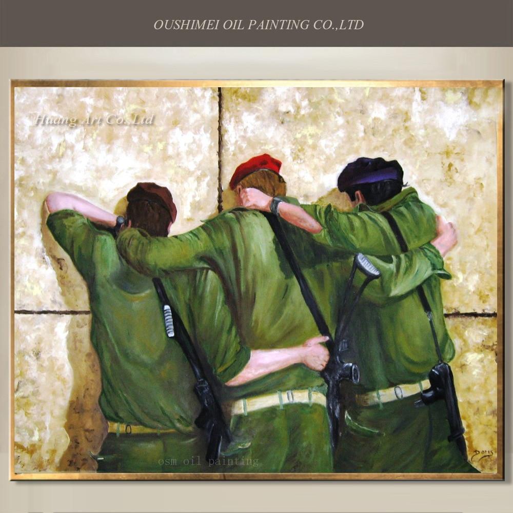 Portrait peint à la main peinture à l'huile sur toile pour salon accrocher des photos soldats sur le mur personnage peinture artisanat décor