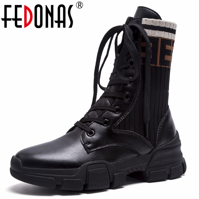 FEDONAS New Fashion Ankle Boots For Women Platforms Punk Rock Night Club Party Shoes Woman Lace Up Martin Shoes Basic Boots