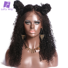 Glueless Kinky Curly Pre Plucked Hairline Full Lace Human Hair Wigs LUFFY Non-remy Malaysia Hair 130% Density For Black Women