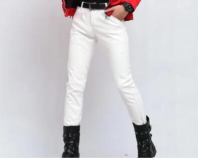 Mode moto pieds pantalon hommes pantalon décontracté pantalon simili cuir pour hommes printemps et automne noir blanc rouge bleu personnalité