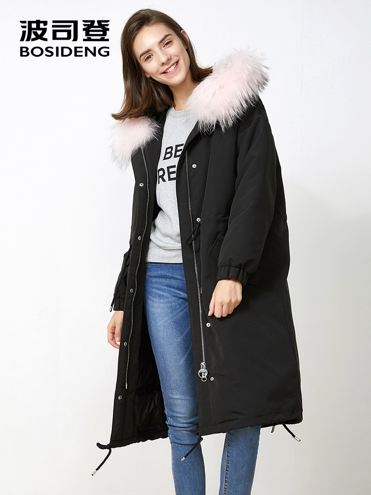 BOSIDENG new winter thick   down   jacket X-long 90 duck   down     coat   for women real natural fur hood Parka waterproof loose B70142570