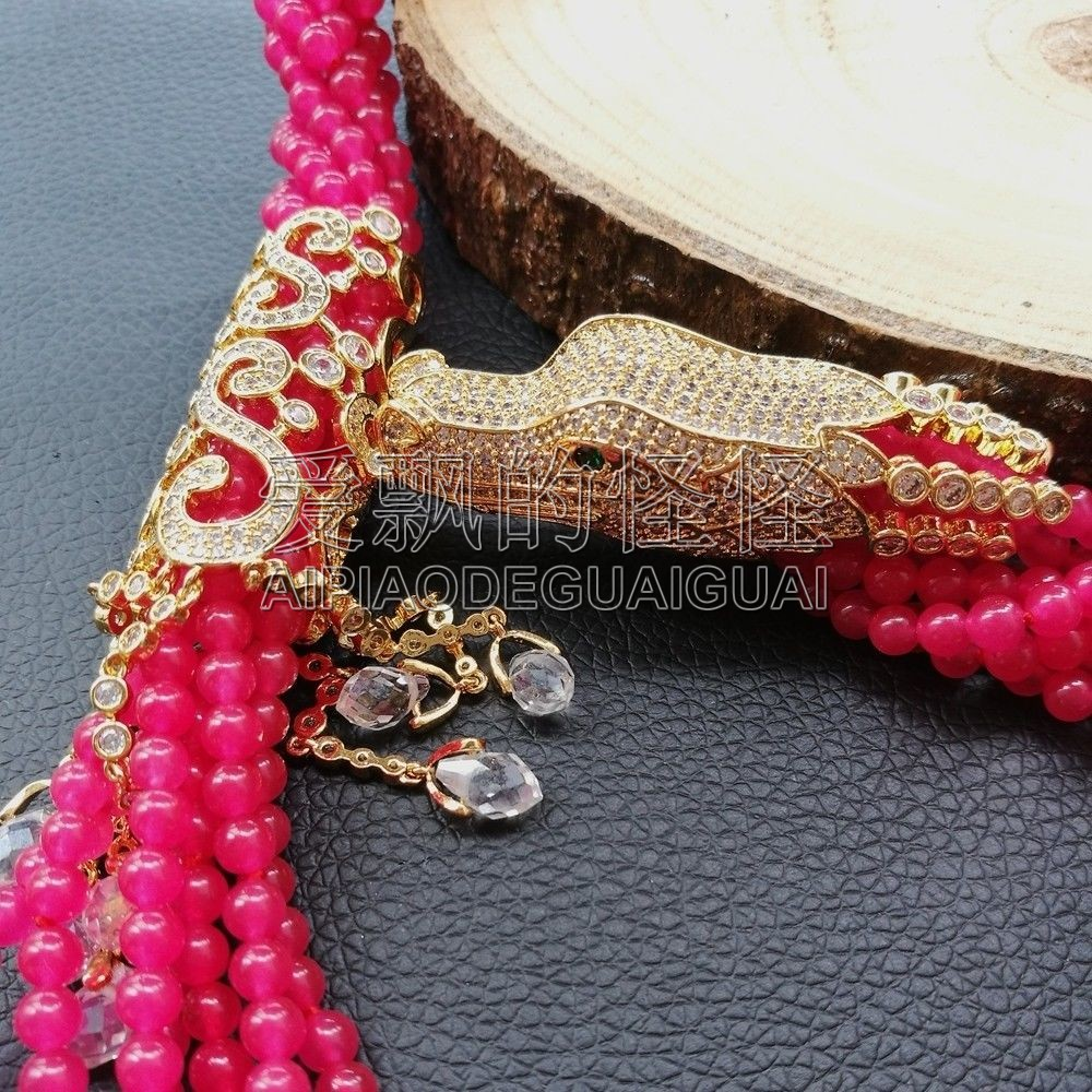 N091204 collier pendentif 7 brins 18 ''pierre rouge Dragon CZ - 5