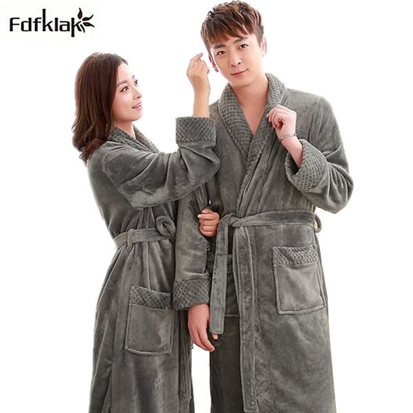 2018 Winter Warm Coral Fleece Couples Bathrobes Long-sleeved Bath Robe Male  Female Thickening Bathrobes Dressing Gowns 34129cc87