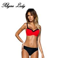 Rhyme Lady New Bikini Set Strap Swimsuit Women Swimwear Vintage Style Bikini Bathing Suit Push Up