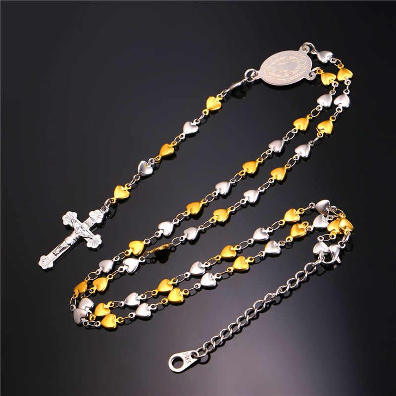 Collare różaniec łańcuch zestawy biżuterii serca krzyż ze stali nierdzewnej złoty kolor Medal świętego benedykta naszyjnik bransoletka zestawy kobiety S222
