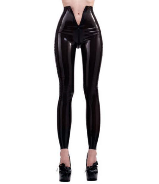 3ca4b71d7ad Sexy Womens Zwarte Hoge Taille Latex Pak Broek Leggings Open Kruis Rits