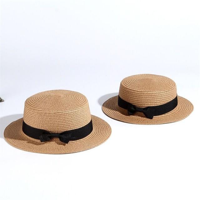 94f1a17c8 Cute Child Girls Straw Bowknot Sun Hat Kids women Large Brim Beach Summer  Boater Beach Ribbon Round Flat Top fedora hat 54CM-in Sun Hats from Women's  ...