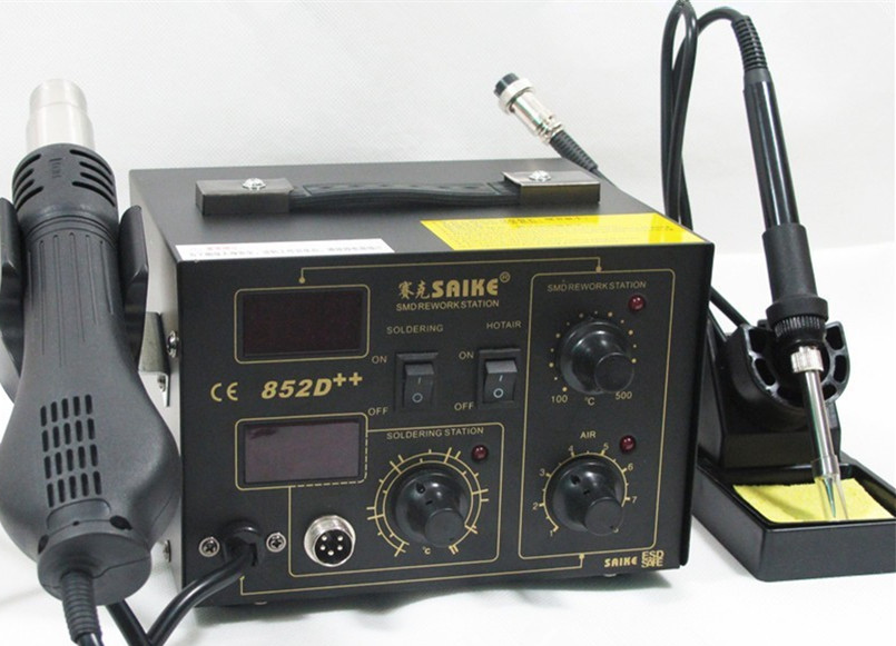Free Shipping! SAIKE 852D++ Iron Solder Soldering Hot Air Gun 2 in 1 Rework Station 220V 110V Upgraded fron SAIKE 852D+  цены