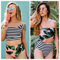 New Leaf Printed Green Sexy Women Bikini Swimwear Summer Female Bathing Suit Stripe Monokini Swimsuit Biquini Maillot De Bain