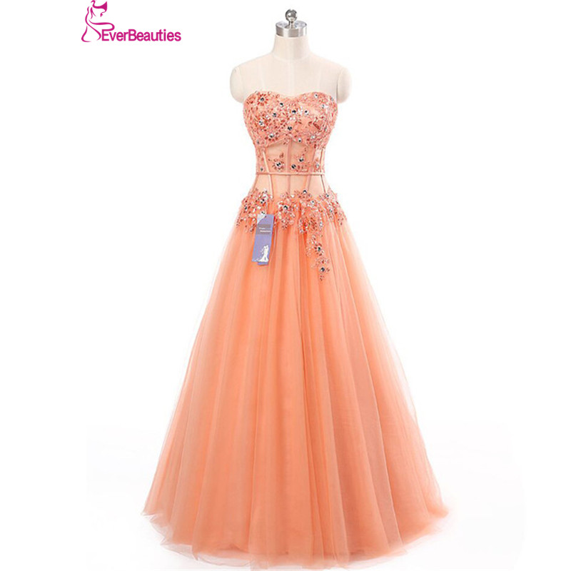 Long Prom Dress 2018 Coral Appliques See Through Corset New Arrival ...