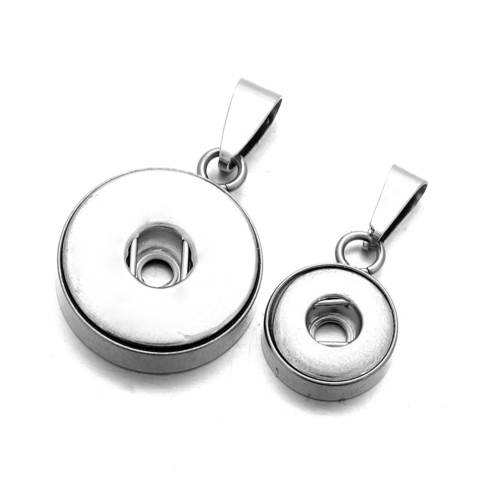10pcs/lot Wholesale 316L Stainless Steel Snap Buttons Pendant Necklace Fit 12mm 18mm Snap Bracelets Snap Jewelry Accessory image