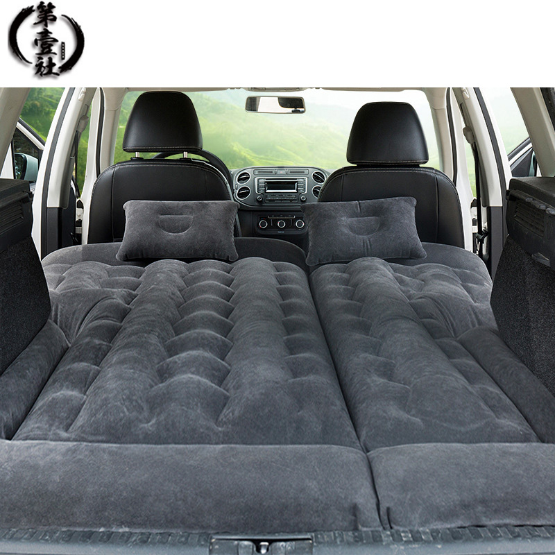 Car Camping Travel Bed Inflatable Back Seat Air Mattress Companion Flocking Cloth Outdoor For SUV
