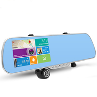 5.0 Touch Car Rearview Mirror Dash Camera parking DVR Camera Video Recorder Truck Vehicle GPS Navigator 8GB Free New Map