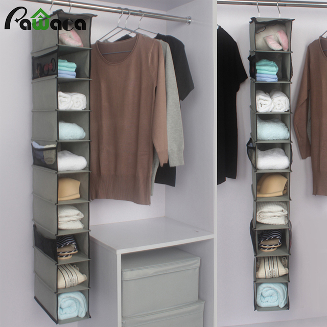 10 Pockets Hanging Storage Bag For Clothes Shoes Handbag Organizer Box Shelves Holder Closet Cubby Home